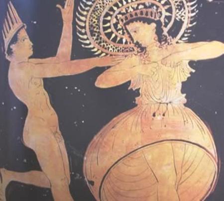 Ἐρυθρόμορφος ἐλικωτός κρατήρας 410-400 π.Χ. Ἀπεικονίζεται χορὸς πρὸς τιμὴ τοῦ Ἀπόλλωνος Καρνείου. Ἐθνικόν Ἀρχαιολογικόν Μουσεῖον Τάραντος.